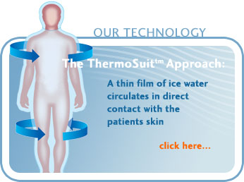 The ThermoSuit® Approach - a thin film of ice water circulates in direct contact with the patients skin.